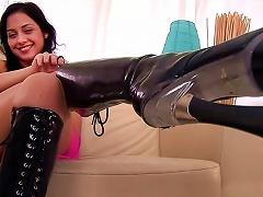 Latex Boots Girl Masturbates Her Tight Twat