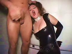 He Makes Latex Slut In Lipstick Worship His Dick