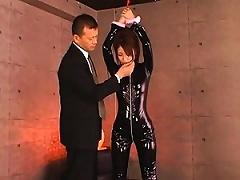 Kokomi Sakura Tied Up In Her Black PVC Outfit And Groped