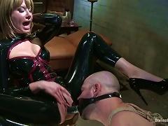 Latex Clad Bitch Maitresse Madeline Pegging In Femdom Bondage Video