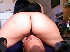 Hot Latex Chick Smothers Him With Her Ass And Pussy