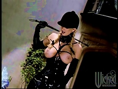 Three Latex Blondes Enjoy Playing With Each Other's Cunts