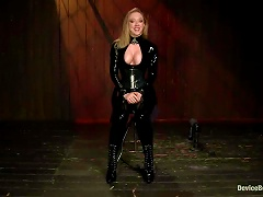 Busty Blond In Latex Enjoys Some Breast