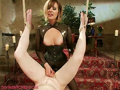Dominatrix In Latex Outfit Gives Ball And Cock  For Dude Before Sex