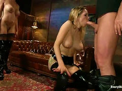 Slutty Girls In Latex Get Fucked In Their Asses On A Sofa