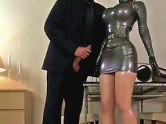 Yummy Lady Lucy Latex Sucks Meaty Cock Of Her Stranger After Hard Doggy Pose Penetration