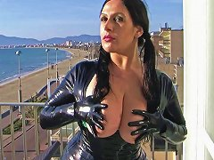 Hd Latex Leggins And Dress With Gloves Holiday Blowjob